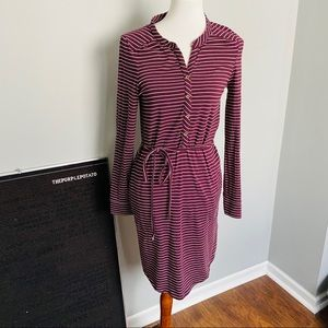 Carve Designs Burgundy Striped Waist Tie Belt